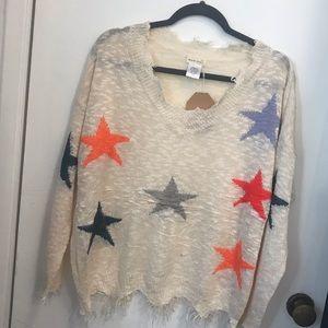 Cute sweater distressed stars fringe